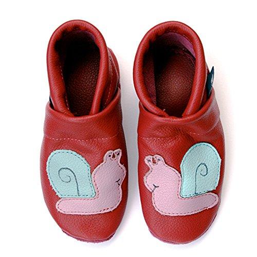 pantau.eu Kinder Lederpuschen Krabbelschuhe Lauflernschuhe Babyschuhe mit Schnecke MAGENTA_LILA_HELLBLAU