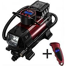 OMORC Compresor Aire Portátil, Automática con Manómetro para Neumático con Pantalla Digital luz LED,