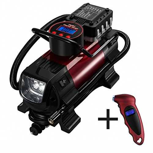 OMORC Compresor Aire Portátil, Automática con Manómetro para Neumático con Pantalla Digital luz LED, Inflador Electrico Bomba de Aire para Coche, Bicicletas, Colchoneta, Balones y Objetos Hinchables