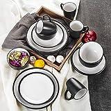 Vancasso Neva Porzellan Tafelservice, 16 teilig Set Geschirrservice in Weiß und Schwarz
