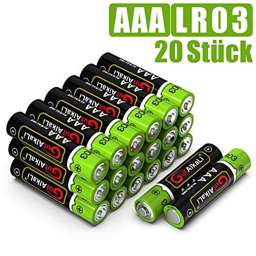 GutAlkaLi Batterien Mignon Alkali, AAA,LR03, 20 Stück für Kameras, Spielecontroller, Spielzeug und Uhren