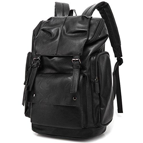 Preisvergleich Produktbild BAOSHA BP-16 PU Leder Notebook Laptop Rucksack bis zu 15,6 Zoll Computer Tasche Damen Reisetasche Wasserabweisend Rucksack Fur Schule Outdoor Wandern Reisen Schwarz