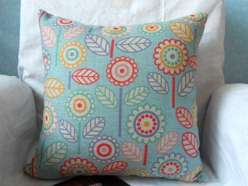 "Cotton Linen Square Decorative Throw Pillow Case Cushion Cover Flowers 18 ""X18 """