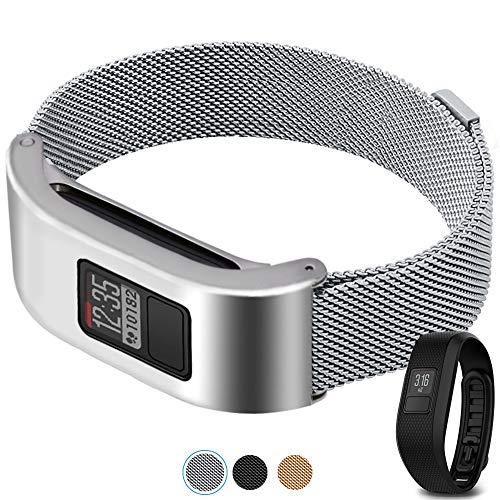 c2d joy adatto a garmin vivofit 3&jr. cinturino acciaio loop in maglia cinturino in tessuto metallico realizzati in acciaio inossidabile con esclusiva chiusura - argento, l
