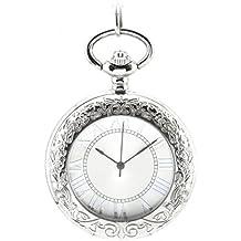 Infinite U Lupa Esqueleto Hueco Colgante Collar Números Romanos Reloj de Bolsillo Color Plateado