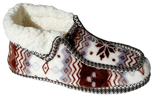 GIBRA® Hausschuhe für Damen, warm gefüttert, mit weißer Sohle, braun/weiß, Gr. 36-41 Braun/Weiß