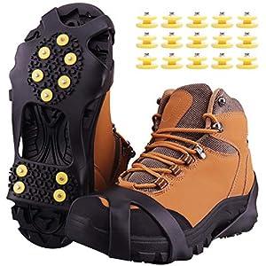 Fesoar Schuhspikes,Schuhkrallen Steigeisen für Schuhe im Winter mit einem 15er-Pack Ersatz-Schneespikes für Damen,Herren und Kinder