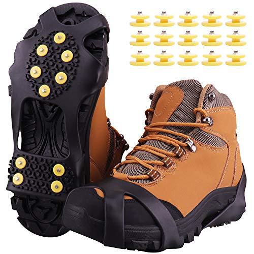 Fesoar Schuhspikes,Schuhkrallen Steigeisen für Schuhe im Winter mit einem 15er-Pack Ersatz-Schneespikes für Damen,Herren und Kinder(Schwarz, L) -
