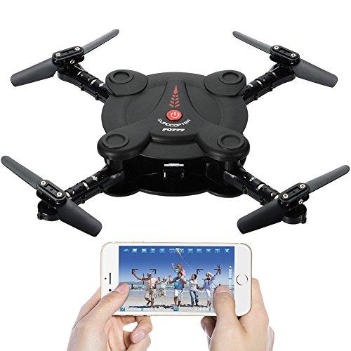 FQ17W Tasche Faltbare RC Quadcopter Drohne mit FPV Kamera und Live Video - App und Wifi Telefonsteuerung - Höhe Halten 3D Flips & Rolls-6-Achsen-Gyro Gravity Sensor RTF Helicopter (Schwarz) (Video-registrierung)