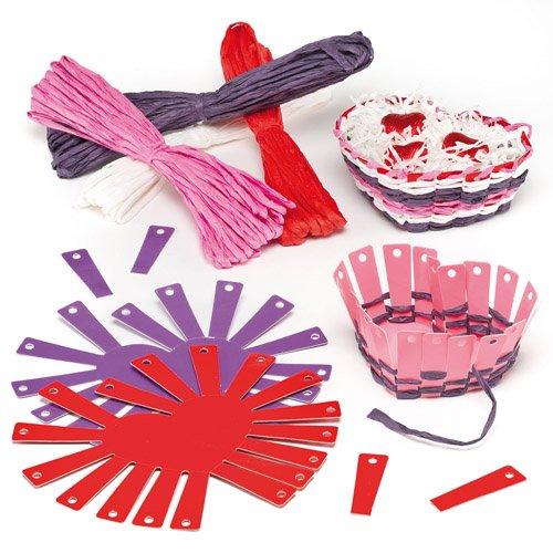Herzkorb Flechtsets für Kinder zum liebevollen Selbergestalten zum Muttertag oder Valentinstag (4 Stück)