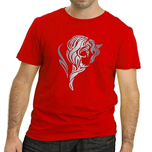 Heyuze Designer Printed Premium Quality 100% Cotton Half Sleeve Male / Men Round Neck Red T Shirt with Horse Love Design
