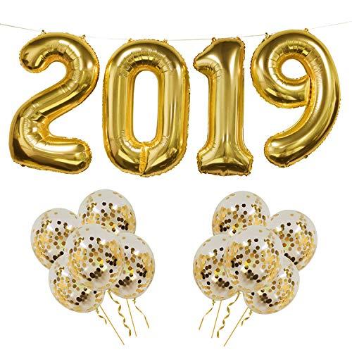 Globos de Aluminio 2019, Banner de Globo de Oro 2019 con 10 pcs Globos de Confeti Dorados, Ideal para la Fiesta de graduaciones, Fiesta de Nochevieja, decoración de la Oficina en casa (Dorado 2019)