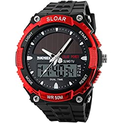 Amstt Men Solar Watch for Boys Military Watches 5ATM Waterproof Analogue Digital Outdoor Sport WatchWatches Stopwatch Red