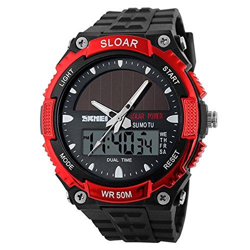 Amstt Herren Solar Armbanduhr Jungen Militär Uhren 5ATM Wasserdichten Outdoor-Sportuhr Analog-Digital-Stoppuhr Rot Jungen Armbanduhren