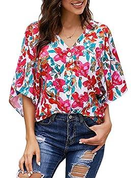 Dokotoo Femme Chemisier en Fluide Blouse Manche 3/4 Imprimé Chemise Avant N½ud Tunique Lâche T Shirt Top Printemps Eté