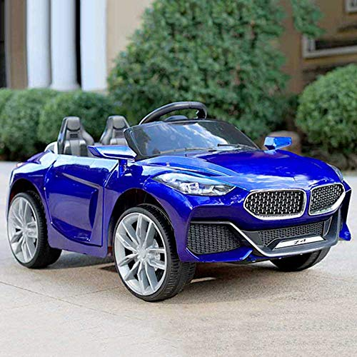 GetBolles Z4 Electric Ride on Car for Kids with Rechargeable 12V Battery, Music, Lights and Swing, Metallic Blue