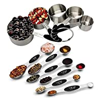 SGS Brand Measuring cups and spoons - 11 peices set - stainless steel for cooking and baking (5 cups and 6 spoons)