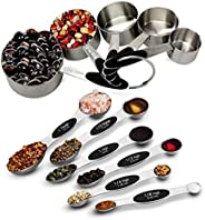SGS Brand Measuring cups and spoons - 11 peices set - stainless steel for cooking and baking (5 cups and 6 spo