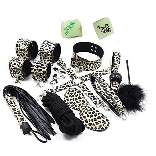 10 piezas Conjunto de Kit de Bondage de cuero con estampado de leopardo Esposas Collar de Máscara de Cuerda Látigo Set de Bondage +4 dados
