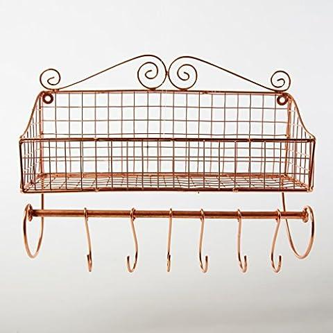 Wall Shelf Copper Iron Metal Spice Rack Hook Wire Wall