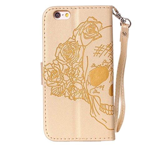 Für iPhone 6 u. 6s verrückter Pferden-Beschaffenheits-Schädel-Drucken-horizontaler Schlag-Leder-Kasten mit Halter u. Karten-Schlitzen u. Mappe u. Abziehbild für iPhone 6 u. 6s by diebelleu ( Color : P Gold