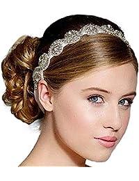 Malloom® Boda Nupcial Cuentas Diamante Diademas Clips accesorio para el pelo (color plata)