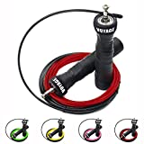 Speed Rope Springseil von VOYAGE - Fitness + Trainingsguide & Ersatzseil - 2 verstellbare High Speed...