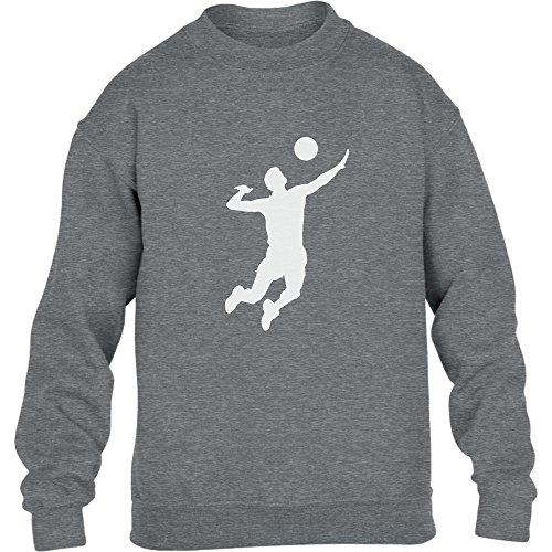 Männer Volleyball Silhuette Fanartikel Geschenk Kinder Pullover Sweatshirt Medium Grau