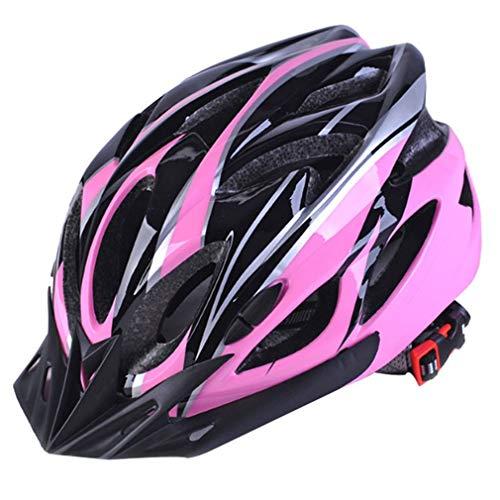 Nihlsen Fahrradhelme Matte Black Herren Damen Fahrradhelm Gegenlicht MTB Mountain Road Bike Integral geformte Fahrradhelme-Pink schwarz