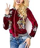 Rote kurze Samt Blouson Jacke mit langen Ärmeln und Tiger sowie Blumenmuster Metallreißverschluss vorn M