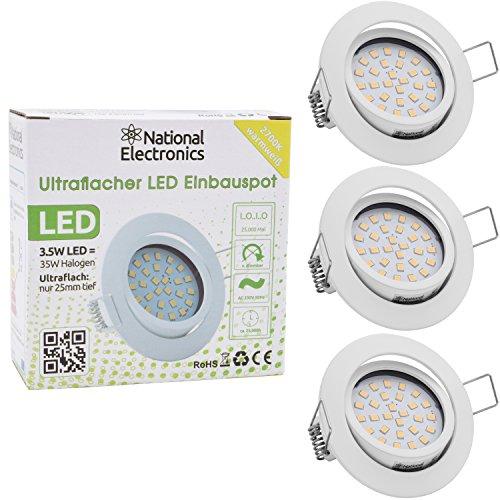 3x National Electronics Slim Line Spot à Encastrer en blanc avec seulement 25 mm Profondeur de Montage. | Lot de 3 spot plafond| intégré 3.5 W 320 lumens | Ampoule LED AC 230 V 160 ° Plafonnier Spot à Encastrer Blanc chaud blanc