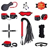 SM Bondage Set BDSM Fesselset SM Sexspielzeug Extrem Betten Fesseln mit Handschellen mit Augenmaske Erotik Für Liebhaber Paare Mann Einsteiger (Schwarz Rot)