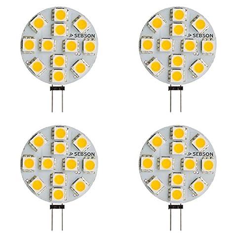 SEBSON LED Lampe G4 warmweiß 3W (2.5W), ersetzt 20W Glühlampe, 200lm, GU4 Stiftsockel 12V DC, Leuchtmittel 110°, 4er