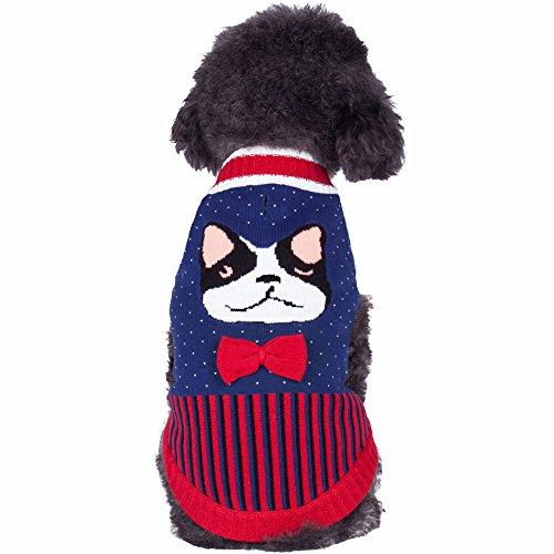 cm Rückenlänge Französische Bulldogge und Fliege Trendiger Hundepulli (Kostüme Für Französische Bulldoggen)