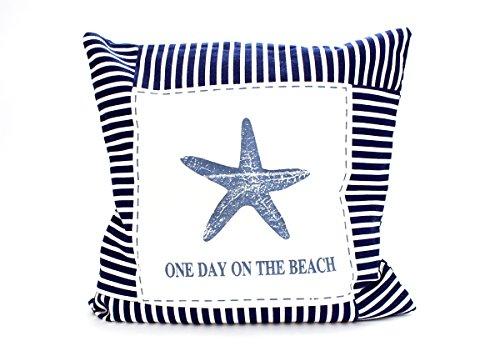 Kissenbezug Frida 40x40cm Kissenhülle maritim Seestern Beach Sommer blau weiß gestreift Leinen Leinenoptik Dekokissen