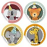 24 süße Geburtstags Aufkleber | Sticker mit Geburtstags Koala, Bär, Elefant und Giraffe, MATTE universal Papieraufkleber für Geschenke, Etiketten für Tischdeko, Pakete, Briefe und mehr (ø 45mm