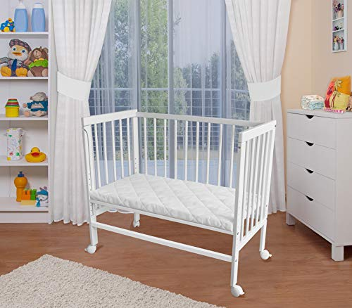 WALDIN Baby Beistellbett mit Matratze, höhen-verstellbar, 2 Modelle wählbar,Buche Massiv-Holz weiß lackiert