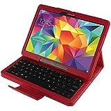 MTP Samsung Galaxy Tab S 10.5, Galaxy Tab S 10.5 LTE Funda & Teclado Bluetooth 3.0 Desmontable, Cover, Bookstyle Book Case, Carcasa con función de Soporte - Diseño EE.UU. - QWERTY - Rojo