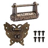 Combinación de personajes chinos con candado y cierre de mariposa y tornillos para armario, caja de regalo