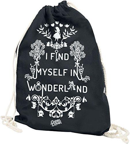 Alice im Wunderland I Find Myself In Wonderland Turnbeutel schwarz (Alice Rucksack)