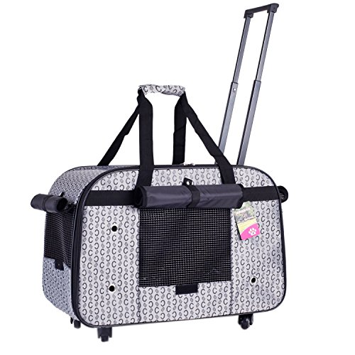 BELLAMORE GIFT Groß Trolley Hundetrolley für Hund bis 11kg oder 2 Kleine Hunde Hundebox Katzenbox Transportbox Hundewagen (Grau)