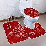 Gaddrt Toilettenpapier 3 stück Weihnachten Bad Rutschfeste sockel Teppich + Deckel toilettenabdeckung + badematte Set (B)