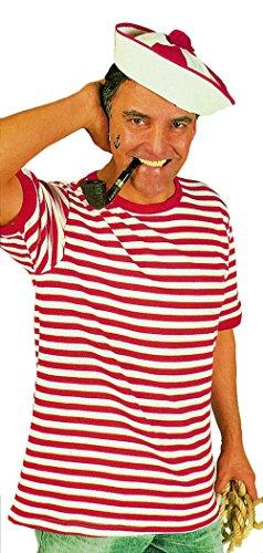 Ringel-Shirt mit kurzem Arm in rot-weiß | Größe XL | Piraten T-Shirt ( gewirkte Ware (Erwachsenen Kostüme Weißen Shirt Piraten)