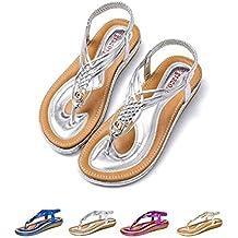 b8ccc6cb8 gracosy Sandalias Planas Verano Mujer Estilo Bohemia Zapatos de Dedo  Sandalias Talla Grande Cinta Elástica Casuales