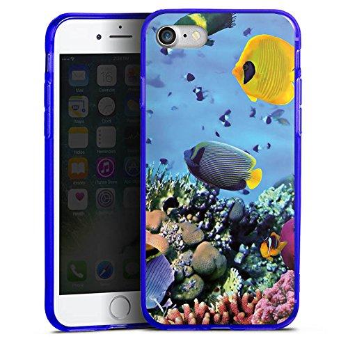 Apple iPhone 7 Silikon Hülle Case Schutzhülle Unterwasser Fische Schildkröte Silikon Colour Case blau