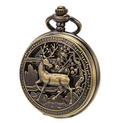 SIBOSUN Unisex Taschenuhr mit Kette Analog Handaufzug Antik Hirsch Rentier Bronze (Taschenuhr Hirsch)
