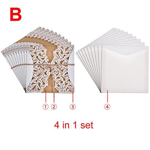 (su-luoyu Schmetterling EinladungsKarten Hochzeit Einladungen Karten, Glückwunschkarte Aktivität Party Einladungskarte 10PCS weiß)