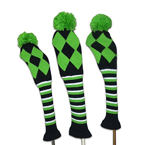 playeagle 3 PCS/Set Stricken Golf Clubs Headcover Driver (460cc), Fairway Holz Head Cover für Taylormade, Callaway, Titleist, und mehr Marke, grün