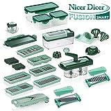 Genius Nicer Dicer Fusion smart, set da 34 pezzi, conNicer Twist, tagliatutto, pialla, cubetti, julienne, spirali, tagliaverdura e tagliafrutta, noto dalla TV