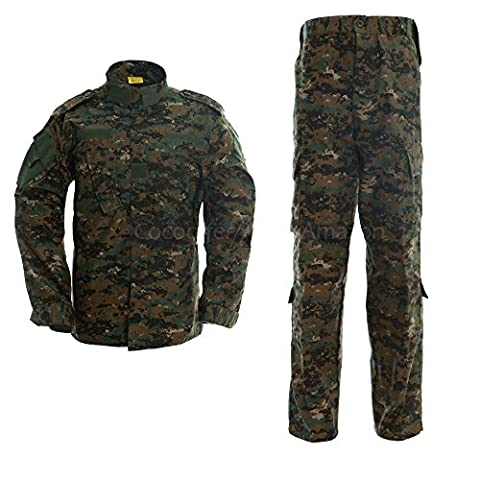 ALK Ensemble veste et pantalon de camouflage pour airsoft / paintball pour femme, Jungle digital, x-large